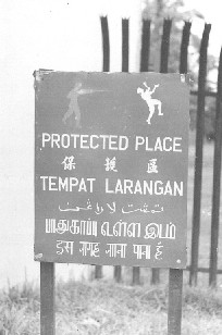 supplied by Peter Thompson Sign outside Tengah Base